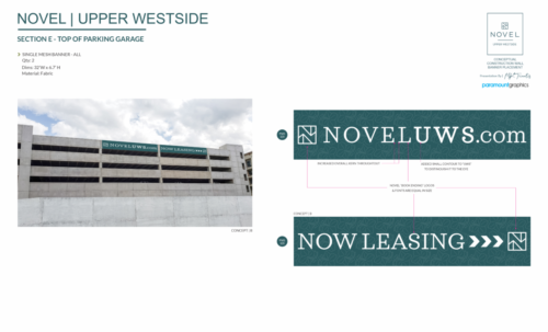 NOVEL UPPER WESTSIDE - CONCEPTUAL FABRIC BANNER PLACEMENT AND DESIGN